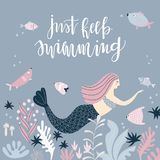 Background with mermaid and handwritten quote Stock Photos