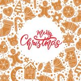 Background Merry Christmas gingerbread cookies figures stock illustration