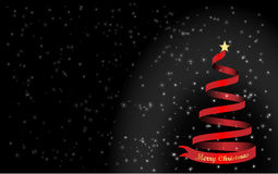 Background Merry Christmas and a red Christmas tree. Background Gold text and star Merry Christmas and a red Christmas tree Royalty Free Stock Image