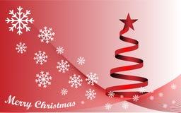 Background Merry Christmas and red Christmas tree. Background white text Merry Christmas and red Christmas tree Stock Photos