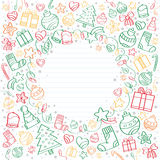 Background of Merry Christmas sketch drawings. Christmas sketch drawings over a notebook with a space in the middle for text Stock Image