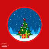 Background with Merry Christmas tree and gift boxes Stock Image