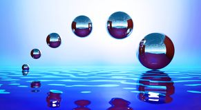 Background with metal balls. Over water stock illustration