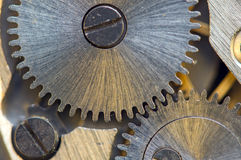 Background with metal cogwheels a clockwork. Conceptual photo Royalty Free Stock Photos