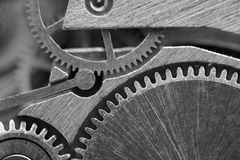 Background with metal cogwheels a clockwork. Macro Royalty Free Stock Photography