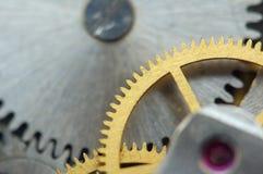 Background with metal cogwheels a clockwork, Macro Stock Photo