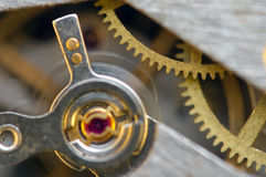 Background with metal cogwheels a clockwork. Royalty Free Stock Photography