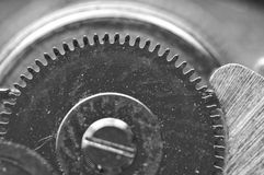 Background with metal cogwheels a clockwork. Macro Royalty Free Stock Photo