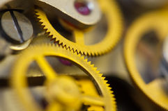 Background with metal cogwheels a clockwork. Royalty Free Stock Photos