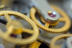 Background with metal cogwheels a clockwork. Stock Photography