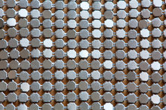 Background of metal diamond plate in silver color. Stock Photo