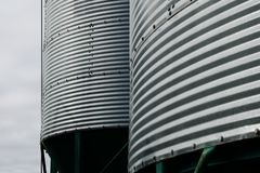 Background of metal farm silos Stock Photos