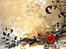 Background with metal floral design Stock Images