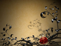 Background with metal floral design Royalty Free Stock Photography