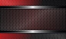 Background with a metal grille and a frame of red and black shades. Background with a metal grille and a rectangular frame of red and black shades with a shiny stock illustration