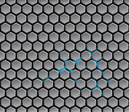 Background with metal hexagons and highlights Stock Images