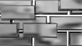 Background metal. Metal plane with a square relief, polished chrome Stock Images