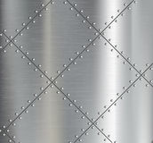 Background of the metal plates with riveted. Stock Photography