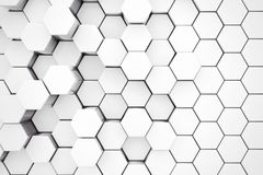 Background of Metal White Hexagon. 3d Rendering Royalty Free Stock Photography