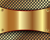 Background with a metallic gold plate and grid Royalty Free Stock Photography