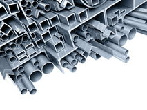 Background metallic pipes. Corners, types Royalty Free Stock Photo