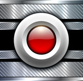Background metallic with red button Royalty Free Stock Photo