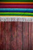 Background: Mexican Blanket with Wooden Table Copyspace Royalty Free Stock Photos