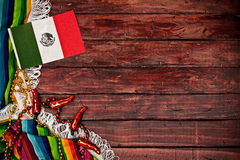 Background: Mexican Flag on Wooden Background Royalty Free Stock Image
