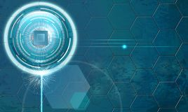 Background with microchip and hexagons stock illustration