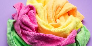 Background with microfiber cleaning cloths. Background with microfiber set of colorful cleaning cloths Stock Image