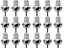 Background of microphones. In black and white Stock Images