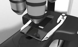Background of microscope detail, 3d render Stock Photography