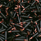 Background from military machine gun cartridges. Royalty Free Stock Images