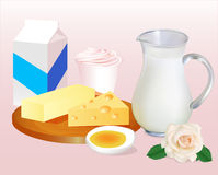 Background with milk butter cheese, eggs and yoghu Stock Photo