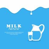 Background Milk. Glass milk and Pitcher. Background Milk. Glass milk and Pitcher Stock Photos