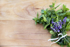 Background mint and lavender on wooden surface stock photography