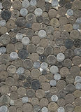 Background of miscellaneous nickel coins Royalty Free Stock Images