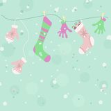 Background of mittens & socks Stock Images