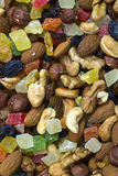 Background mix of nuts and raisins Stock Photos