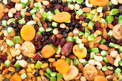 Background of mixed dried fruits and nuts stock photos