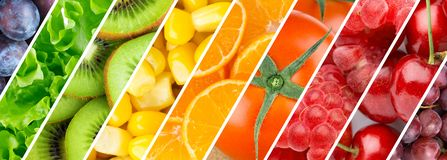 Background of mixed fresh fruits and vegetables royalty free stock photo