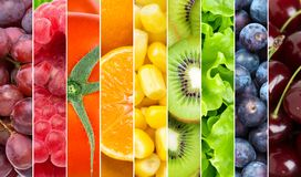 Background of mixed fresh fruits and vegetables royalty free stock images