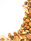 Background of mixed nuts with copy space Stock Image