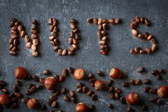 Background of mixed nuts, hazelnuts, Pine nuts. Top view of mixed colorful superfoods stock images