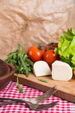 Background from mixed vegetables with wood board Stock Photo