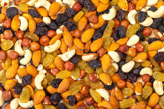Background of mixture of nuts and raisins Stock Image