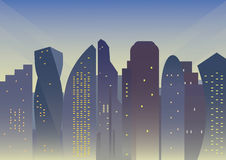 Background with modern city Stock Images