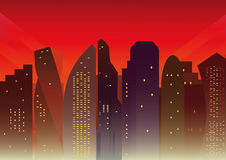 Background with modern city at sunset Royalty Free Stock Photo
