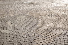 Background Of Modern  Cobblestone Paving In Perspective With Cir Royalty Free Stock Photos