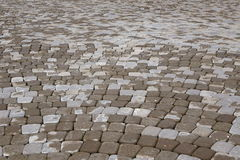 Background Of Modern  Cobblestone Paving In Perspective With Cir Stock Photography